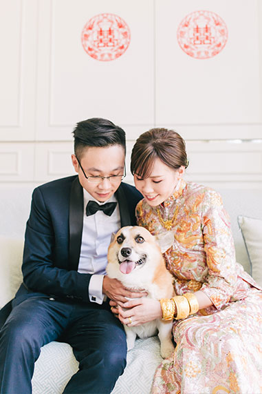 bride, groom and dog pose for photo