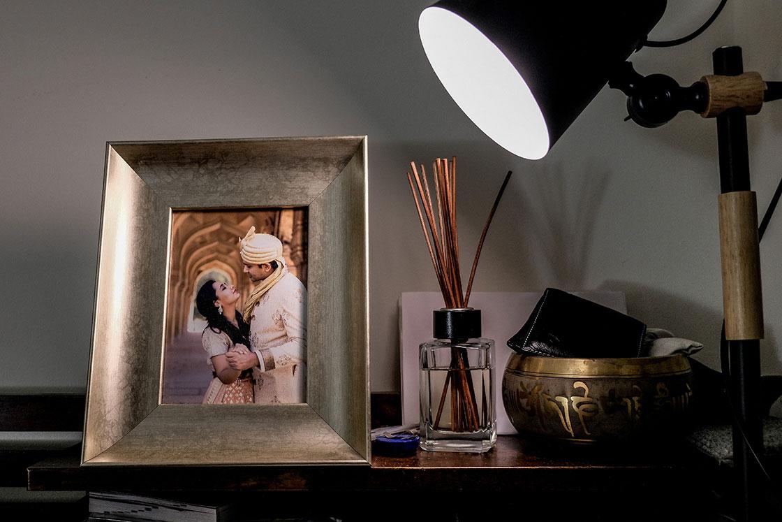 pre wedding photos in a photo frame